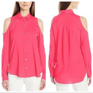 Calvin Klein Cold Shoulder Button Up Shirt
